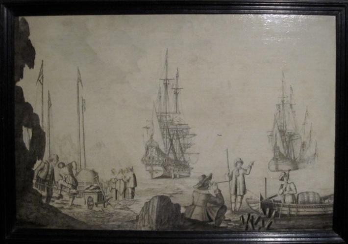 Men in a Boat near Two Dutch Ships