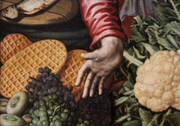 "Detail: Waffles from Aertsen's ""Gemüseverkäuferin (The Vegetable Seller)"""
