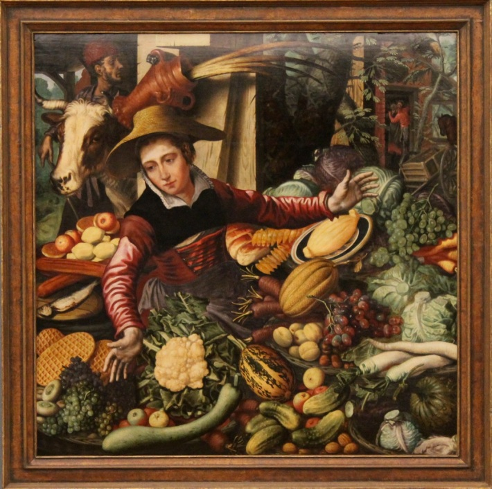 "Pieter Aertsen, ""Gemüseverkäuferin (The Vegetable Seller)"" (1567), Gemäldegalerie, Berlin"