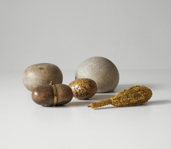 """Kunstkammer© Vienna, Kunsthistorisches Museum--""""a ball of swallowed foreign material (usually hair or fiber) that collects in the stomach and fails to pass through the intestines."""" (U.S. Nat'l Library of Medicine)--""""any of various calculi found chiefly in the gastrointestinal organs and formerly believed to possess magical properties"""" (Merriam Webster Dictionary)"""