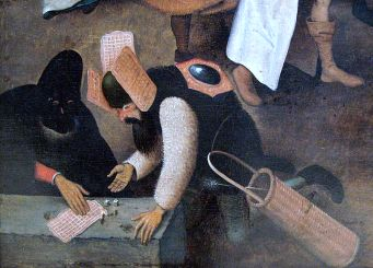 "Detail: Waffles used as costume and game board in Breugel's ""Fight Between Carnival and Lent"""