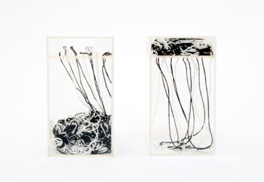 Paulo Roberto Leal — Untitled, 1976 Wool in acrylic boxes, 2 parts 18 x 10 x 10 cm, each