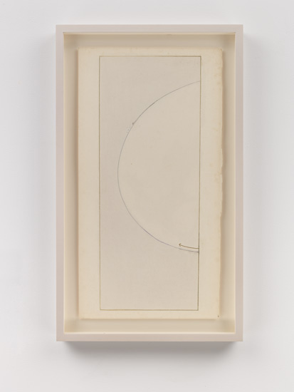 Mira Schendel — Untitled, 1980 Water paint and gold pencil on paper 46 x 23.5 cm