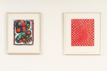 Left: Elizabeth Murray. Dotty. 2000. Woodcut. Right: James Siena. Battery. 2002. Reduction linoleum cut.  Image credit: Planthouse